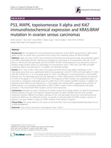 P53, MAPK, topoisomerase II alpha and Ki67 immunohistochemical expression and KRAS/BRAF mutation in ovarian serous carcinomas