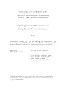 Integrated approach of rural development in China [Elektronische Ressource] : findings from rural development in Germany/ Qing Gao