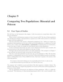 Chapter 9 Comparing Two Populations: Binomial and Poisson