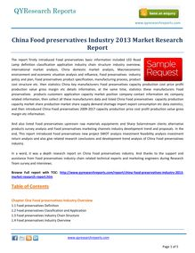 Study Report on China Food Preservatives Industry 2013 by qyresearchreports.com