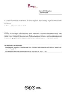 Construction of an event. Coverage of Ireland by Agence France Presse - article ; n°1 ; vol.5, pg 27-48