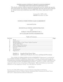 Draft Surplus Power Sales Agreement with Clallam PUD#1 (Contract No.  06PB-11694), issued for public
