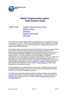 Mobile Telephone Base-station Audit for Didsbury Road Primary School