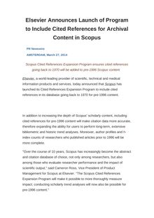 Elsevier Announces Launch of Program to Include Cited References for Archival Content in Scopus