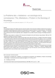 Le Problème des « médiations » en sociologie de la connaissance / The «Mediations » Problem in the Sociology of Knowledge - article ; n°1 ; vol.37, pg 43-77