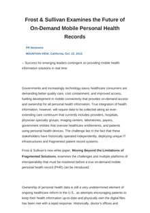 Frost & Sullivan Examines the Future of On-Demand Mobile Personal Health Records