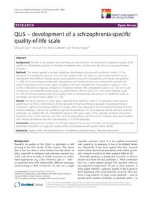 QLiS – development of a schizophrenia-specific quality-of-life scale