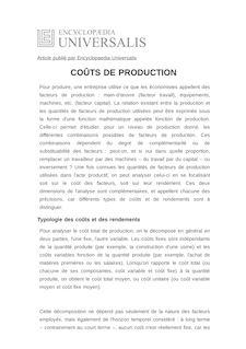 Définition et synonyme de : COÛTS DE PRODUCTION - NICOLAS COUDERC
