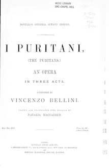 Partition Preliminaries - Act I, I puritani, Melodramma serio in tre atti
