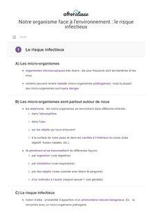 SVT. Le risque infectieux