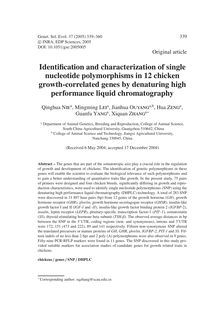 Identification and characterization of single nucleotide polymorphisms in 12 chicken growth-correlated genes by denaturing high performance liquid chromatography
