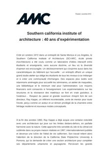 Southern california institute of architecture : 40 ans d'expérimentation