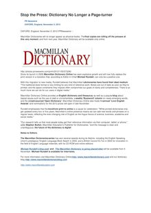 Stop the Press: Dictionary No Longer a Page-turner