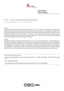 Turin : de la ville-usine à la technopole  - article ; n°538 ; vol.96, pg 680-704