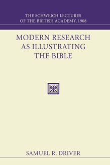Modern Research as Illustrating the Bible