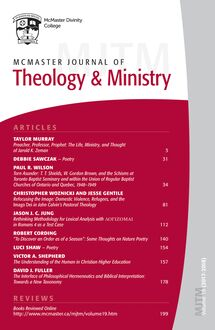 McMaster Journal of Theology and Ministry: Volume 19, 2017–2018