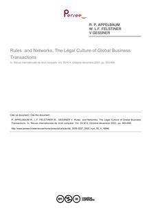 Rules  and Networks, The Légal Culture of Global Business Transactions - note biblio ; n°4 ; vol.55, pg 993-995