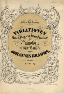 Partition couverture couleur, Variations on a Theme by Robert Schumann