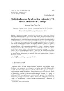 Statistical power for detecting epistasis QTL effects under the F-2 design