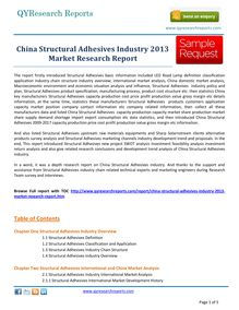 Worldwide Study on   China Structural Adhesives Market    by qyresearchreports.com