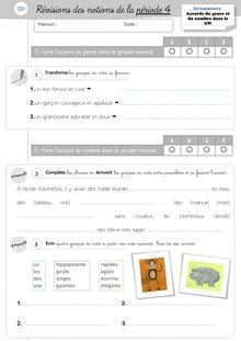 Evaluations Etude de la langue / Lecture CE1 – 4ème période - Grammaire