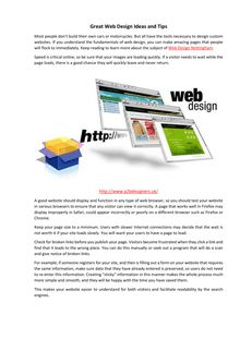Great Web Design Ideas and Tips