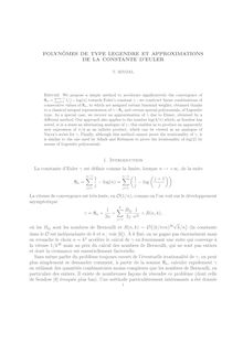 POLYNOMES DE TYPE LEGENDRE ET APPROXIMATIONS DE LA CONSTANTE D