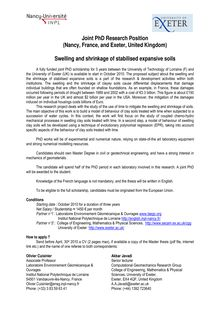 Joint phd research position (nancy, france, and exeter, united