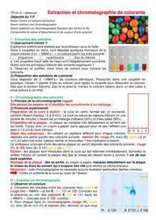 """Chapitre """"Observer"""" : extraction et chromatographie de colorants - physique-chimie pour 1ere S"""