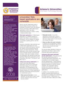 Arizona Universities - Information Technology Security Performance Audit Highlights