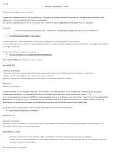 Variation génétique et santé - Cours SVT 1ere S - Famille Martial - Cours