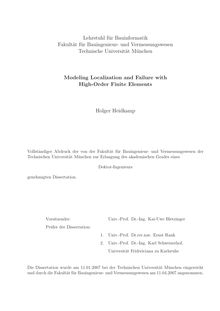 Modeling localization and failure with high order finite elements [Elektronische Ressource] / Holger Heidkamp