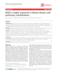NOD2 is highly expressed in Behçet disease with pulmonary manifestations
