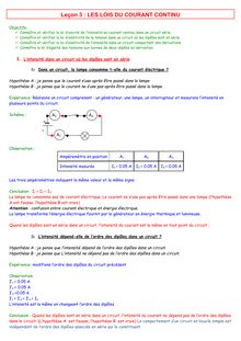 Cours de physique-chimie de 4ème sur les lois du courant continu