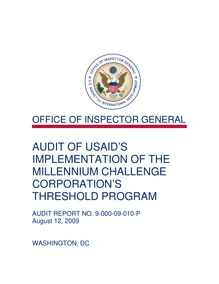 Audit of USAID's Implementation of the Millennium Challenge Corporation's Threshold Program