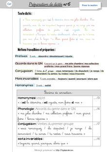 Orthographe / Grammaire / Vocabulaire CE1 – Préparations de dictées et leçons - Préparations de dictées n°6
