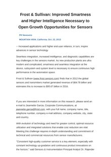 Frost & Sullivan: Improved Smartness and Higher Intelligence Necessary to Open Growth Opportunities for Sensors