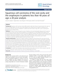 Squamous cell carcinoma of the oral cavity and the oropharynx in patients less than 40 years of age: a 20-year analysis