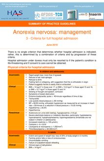 Anorexie mentale  prise en charge - Summary Anorexia nervosa - Hospital admission