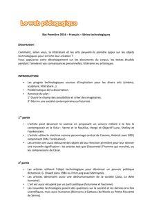 Baccalauréat Français 2016 - Séries technologiques - Dissertation