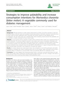 Strategies to improve palatability and increase consumption intentions for Momordica charantia(bitter melon): A vegetable commonly used for diabetes management