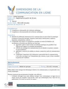 Dimensions de la communication en ligne