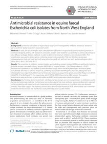 Antimicrobial resistance in equine faecal Escherichia coli isolates from North West England