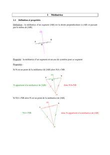 Les propriétés des médiatrices d'un segment