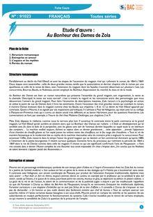Fiche de révision BAC Français - Fiche de lecture : Au ...