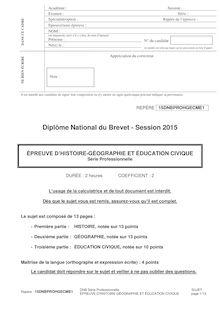 Brevet 2015 : sujet Histoire-Géo et Education civique (série pro)