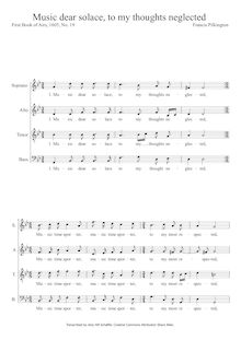 Partition SATB, Music dear solace, to my thoughts neglected, Pilkington, Francis