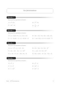 Accompagnement personnalisé, Probabilités Factorisations (1)