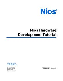 Nios Hardware Development Tutorial for the Nios Development ...