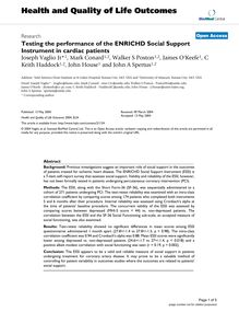 Testing the performance of the ENRICHD Social Support Instrument in cardiac patients